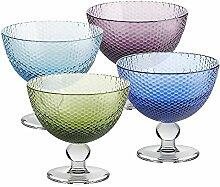 4 X Eisschale Dessertschale Eisbecher Glas Bubbles