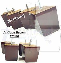 4x Ersatz Holz Füße Ersatz Möbel Beine für Sofas, Stühle, Hocker M8(8mm) pkc359 braun im antik-finish