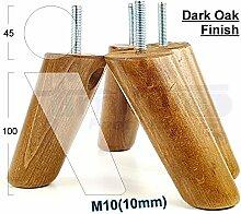 4x Ersatz Möbel Beine Massivholz Möbel Fuß für Sofas, Stühle, Sofas, Schränke–M10(10) cwc815z dunkle eiche