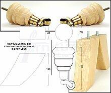 4x Ersatz Raw Massivholz Möbel Füße Antik Messing Beine mit Rollen 155mm Höhe für Sofas, Stühle, Hocker Sofa M8(8mm)