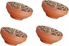 4 x Feuerschale/Topf Wachs / Stroh,Terracotta, Garten Hohe Flamme Feier Party