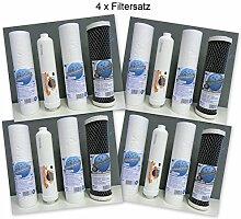 """4 x Filtersatz für 5-stufige Umkehrosmose Wasserfilter 500 GPD """"Titan"""" / 300 GPD """"Top Flow"""" Osmose"""