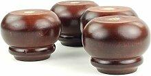 4x Füße aus Holz Mahagoni Ersatz Möbel Beine 90mm Höhe für Sofas, Stühle, Schränke–Pre Fixierung