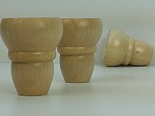 4x Füße aus Massivholz von Notebook-Möbel Beine 82mm Höhe für Schubladen, Schränke, Regale, Entertainment Einheit, Schränke