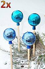 4 x Gartenkugel ca. 18 cm gross Form Kugel, klassische Kugelform handgefertigt türkis & hellblau Rosenkugel gartenkugeln, Sonnenfänger-Kugel, Sonnenfänger-Scheibe, Sonnenfängerscheiben, Gartendeko FROSTSICHER, lichtbeständig und WINTERFEST, Rosenkugeln Winter Glas Deko Garten Ölbaum