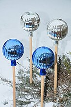 4 x Gartenkugel ca. 18 cm gross Form Kugel, klassische Kugelform handgefertigt silber und blau Rosenkugel gartenkugeln, Sonnenfänger-Kugel, Sonnenfänger-Scheibe, Sonnenfängerscheiben, Gartendeko FROSTSICHER, lichtbeständig und WINTERFEST, Rosenkugeln Winter Glas Deko Garten