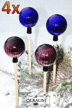 4 x Gartenkugel ca. 18 cm XXL Form Kugel, klassische Kugelform handgefertigt violett und dunkelblau Rosenkugel gartenkugeln, Sonnenfänger-Kugel, Sonnenfänger-Scheibe, Sonnenfängerscheiben, Gartendeko FROSTSICHER, lichtbeständig und WINTERFEST, Rosenkugeln Winter Glas Deko Garten Ölbaum