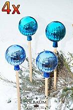 4 x Gartenkugel ca. 25 cm gross Form Kugel, klassische Kugelform handgefertigt türkis & hellblau Rosenkugel gartenkugeln, Sonnenfänger-Kugel, Sonnenfänger-Scheibe, Sonnenfängerscheiben, Gartendeko FROSTSICHER, lichtbeständig und WINTERFEST, Rosenkugeln Winter Glas Deko Garten