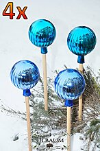 4 x Gartenkugel ca. 25 cm gross Form Kugel, klassische Kugelform handgefertigt türkis & hellblau Rosenkugel gartenkugeln, Sonnenfänger-Kugel, Sonnenfänger-Scheibe, Sonnenfängerscheiben, Gartendeko FROSTSICHER, lichtbeständig und WINTERFEST, Rosenkugeln Winter Glas Deko Garten Ölbaum