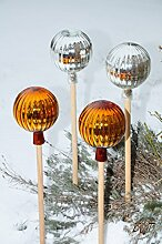 4 x Gartenkugel ca. 25 cm Silber und Gold Rosenkugel gartenkugeln, Sonnenfänger-Kugel, Sonnenfänger-Scheibe, Sonnenfängerscheiben, Gartendeko FROSTSICHER, lichtbeständig und WINTERFEST, Rosenkugeln Winter Glas Deko Garten