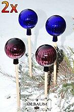 4 x Gartenkugel ca. 25 cm XXL Form Kugel, klassische Kugelform handgefertigt violett und dunkelblau Rosenkugel gartenkugeln, Sonnenfänger-Kugel, Sonnenfänger-Scheibe, Sonnenfängerscheiben, Gartendeko FROSTSICHER, lichtbeständig und WINTERFEST, Rosenkugeln Winter Glas Deko Garten Ölbaum