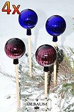 4 x Gartenkugel ca. 25 cm XXL Form Kugel, klassische Kugelform handgefertigt violett und dunkelblau Rosenkugel gartenkugeln, Sonnenfänger-Kugel, Sonnenfänger-Scheibe, Sonnenfängerscheiben, Gartendeko FROSTSICHER, lichtbeständig und WINTERFEST, Rosenkugeln Winter Glas Deko Garten