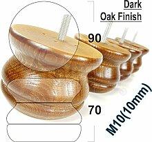 4x gedreht Kugelfüße aus Holz Holz Möbel Beine für Sofas, Stühle, Hocker M10(10) shn215az dunkle eiche