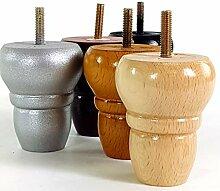 4 x gedrehte Holzfüße für Möbelbeine 82 mm