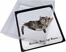 4x Katzen in Hängematte Ruhestand Geschenk Bild Tisch-Untersetzer in Geschenk-Box