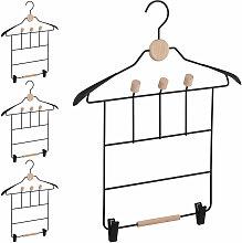 4 x Kleiderbügel mit Klammer, je 3 Haken, Anzug &