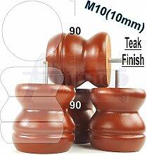 4x Kugelfüße aus Holz Holz Möbel Beine für Sofas, Stühle, Hocker M10(10) shn215bz braun (teak)