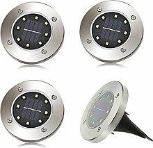 4 x LED Solar Leuchte außen Garten Solarleuchte Bodenleuchte Edelstahl Außenleuchte Wasserdicht 100LM Dämmerungsschalter Erdspieß Solar für Rasen Hof Auffahrt Weiß Lichtfarbe