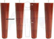 4x Mahagoni Finish Holz Füße Ersatz Möbel Beine 200mm Höhe für Sofas, Stühle, Hocker M8(8mm)