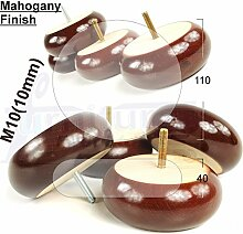 4x Mahagoni Finish Holz Füße Ersatz Möbel Beine 40mm Höhe für Sofas, Stühle, Hocker M10(10)