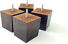 4x Mahagoni Finish Holz Füße Ersatz Möbel Beine 90mm Höhe für Sofas, Stühle, Hocker M8(8mm)