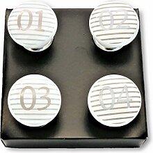 4 x Möbelgriff mit Zahlen Porzellanknopf Möbelknopf Möbelknauf Porzellan Zahl weiss gestreif