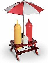 4 x Picknicktisch Gewürzhalter mit Senf- und Ketchupspender Pfeffer- Salzstreuer Sonnenschirm