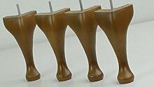 4x Queen Ann Beine Massivholz Eiche Fertig Ersatz Möbel Füße 200mm Höhe für Stühle, Hocker M8(8mm)