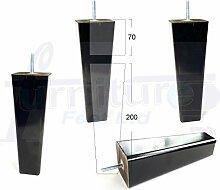 4x schwarz fertig Holz Füße Ersatz Möbel Beine 200mm Höhe für Sofas, Stühle, Hocker M10(10passenden)