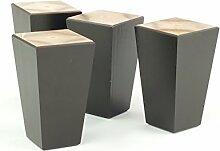 4x schwarz Holz fertig Füße Ersatz Möbel Beine 120mm Höhe für Sofas, Stühle, Hocker, selbst Befestigung