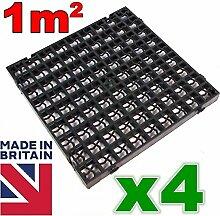 4x schwarz Kunststoff Gehwegplatten Auffahrt
