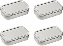 4x Silber Tabakdose, traditionelle Silber Plain Tabakdose Pillendose Aufbewahrungsdose
