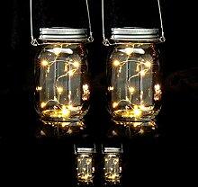 4 x Solar Glas im Set, je 8 LED im Einmachglas,