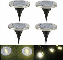 4 X Solarleuchten Garten LED Strahler Solar Bodenleuchten Solarbetriebenen Weg Leuchten mit Warmweiß Licht und 2LED Wasserfeste LED Lampen für Garten Rasen Weg Terasse