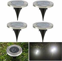 4 X Solarleuchten Garten LED Strahler Solar Bodenleuchten Weg Leuchten mit Weiß Licht und 2LED Wasserfeste LED Lampen für Garten Rasen Weg Terasse