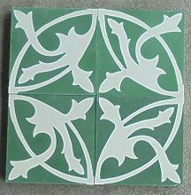 4 Zementfliesen Mondial grün weiß - Handarbeit -