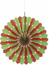 40cm Seidenpapier Fan Dekoration, papier, rot / grün, 40,6 cm