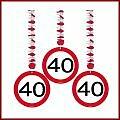 40 Geburtstag Deko Rotorspiralen mit Zahl 40 3er Set Hängende Dekoration zum 40er Geburtstag Party oder andere Anlässe
