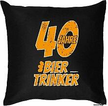 40 JAHRE BIER TRINKER : Kissen mit Füllung - Witziges Zusatzkissen, Kuschelkissen, 40x40 als Geschenkidee. Schwarz