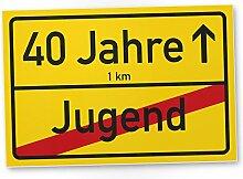 40 Jahre - Jugend vorbei Schild (gelb), Geschenk 40. Geburtstag, Geschenkidee Geburtstagsgeschenk zum Vierzigsten, Geburtstagsdeko / Partydeko / Party Zubehör / Geburtstagskarte