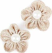 40 Juteblumen mit Halbperle Stoff , natur ca. D:4cm