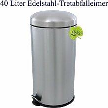 40 Liter Edelstahl Mülleimer, mattierter Tret- Abfalleimer mit abgerundetem Deckel, original Made for us®