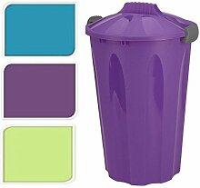 40 Liter Groß Plastik Abfalleimer Rund Müll Müll-recycling Garten Küchen Aufbewahrung Behälter Mülleimer Mit Deckel - Türkis
