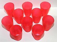 40 Plastik Trinkbecher 0,4 l - rot - Mehrwegtrinkbecher / Partybecher / Becher