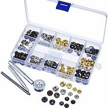 40 Set Druckknöpfe Metall Rotguss Gold Silber Bronze,4 tlg Locheinsen handschlageisen nähfrei Werkzeuge für Leder Handwerk Kleidung Jeans mit Aufbewahrungsbox