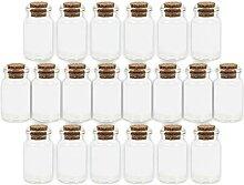 40 Stk Glas-Fläschchen Korken Mini-Flaschen