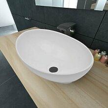 400 mm Ovales Waschbecken Rex aus Keramik, Aufsatz