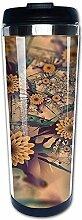 400ml Reisekaffeetasse Blumenbild Edelstahl