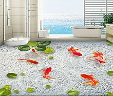 400x350cm 3d-PVC Bodenbeläge Custom 3d Badezimmer Bodenbeläge Gans Lotusblatt weichen Stein Wasser Fisch Foto 3d Wandbilder Tapeten Wasserlinsen