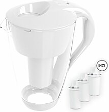 4020 Glas-Wasserfilter Karaffe (weiß) inkl. 3 Classic Filterkartusche (kompatibel mit Brita® Classic) + LED Anzeige